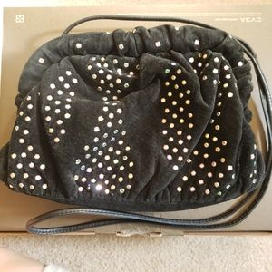 Vtg black suede rhinestone purse